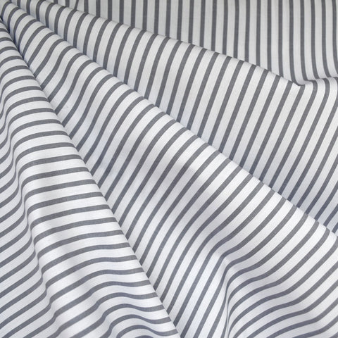 Classic Cotton Shirting Stripe Grey/White
