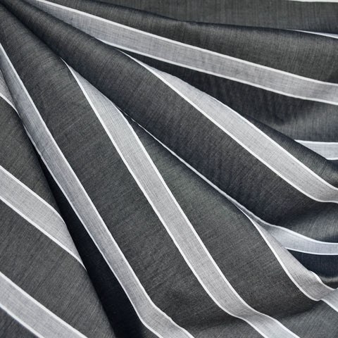 Italian Stripe Shirting Charcoal/White