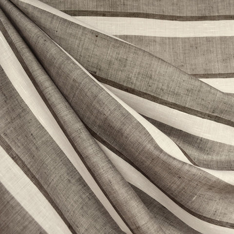 Italian Linen Stripe Shirting Taupe/Cream