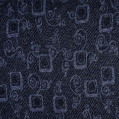 Italian Designer Scroll Double Face Jersey Navy/Grey SY - Sold Out - Style Maker Fabrics