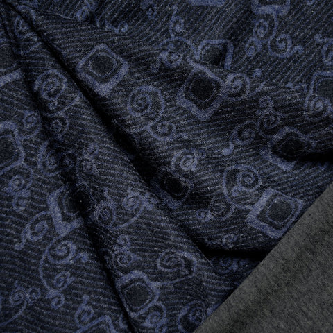 Italian Designer Scroll Double Face Jersey Navy/Grey