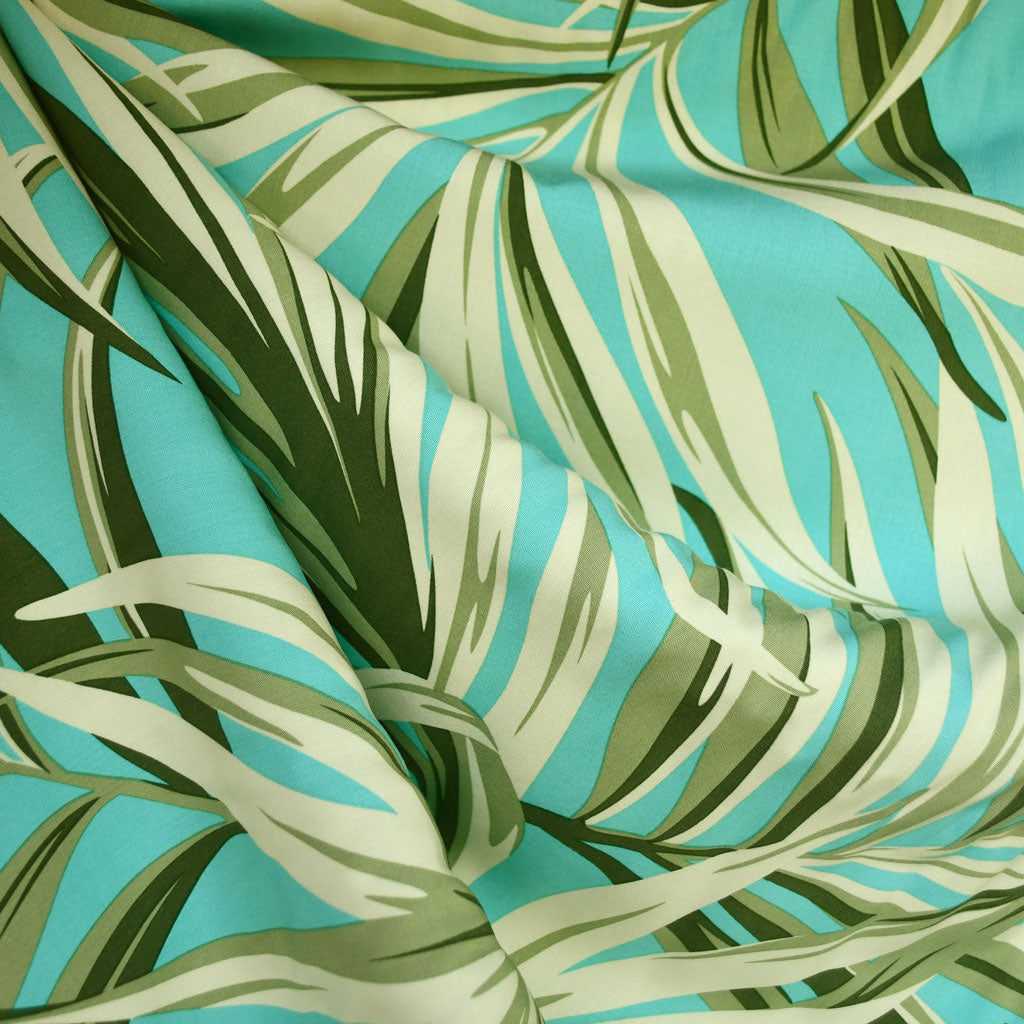 Tropical Leaves Rayon Shirting Aqua SY - Sold Out - Style Maker Fabrics