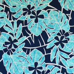 Bright Tropical Leaf Floral ITY Knit Turquoise SY - Sold Out - Style Maker Fabrics