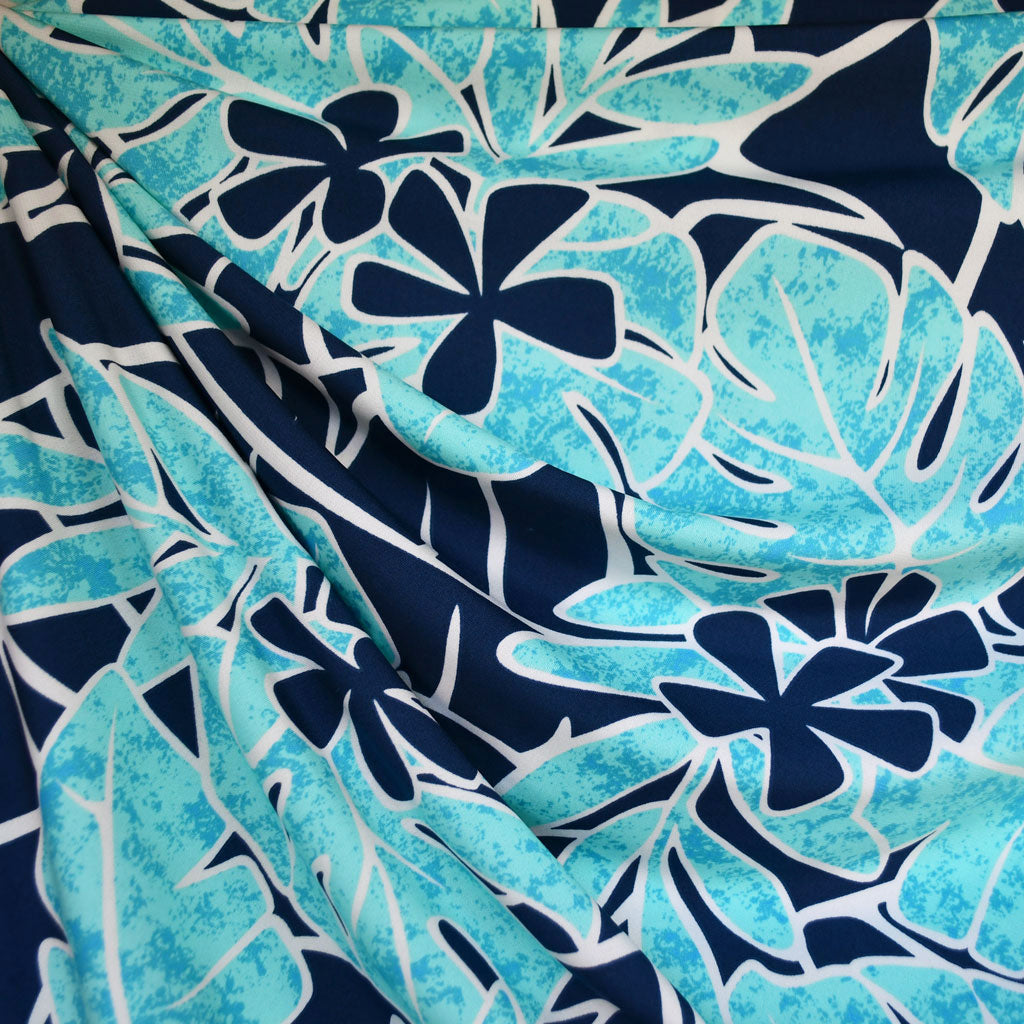 Bright Tropical Leaf Floral ITY Knit Turquoise - Fabric - Style Maker Fabrics