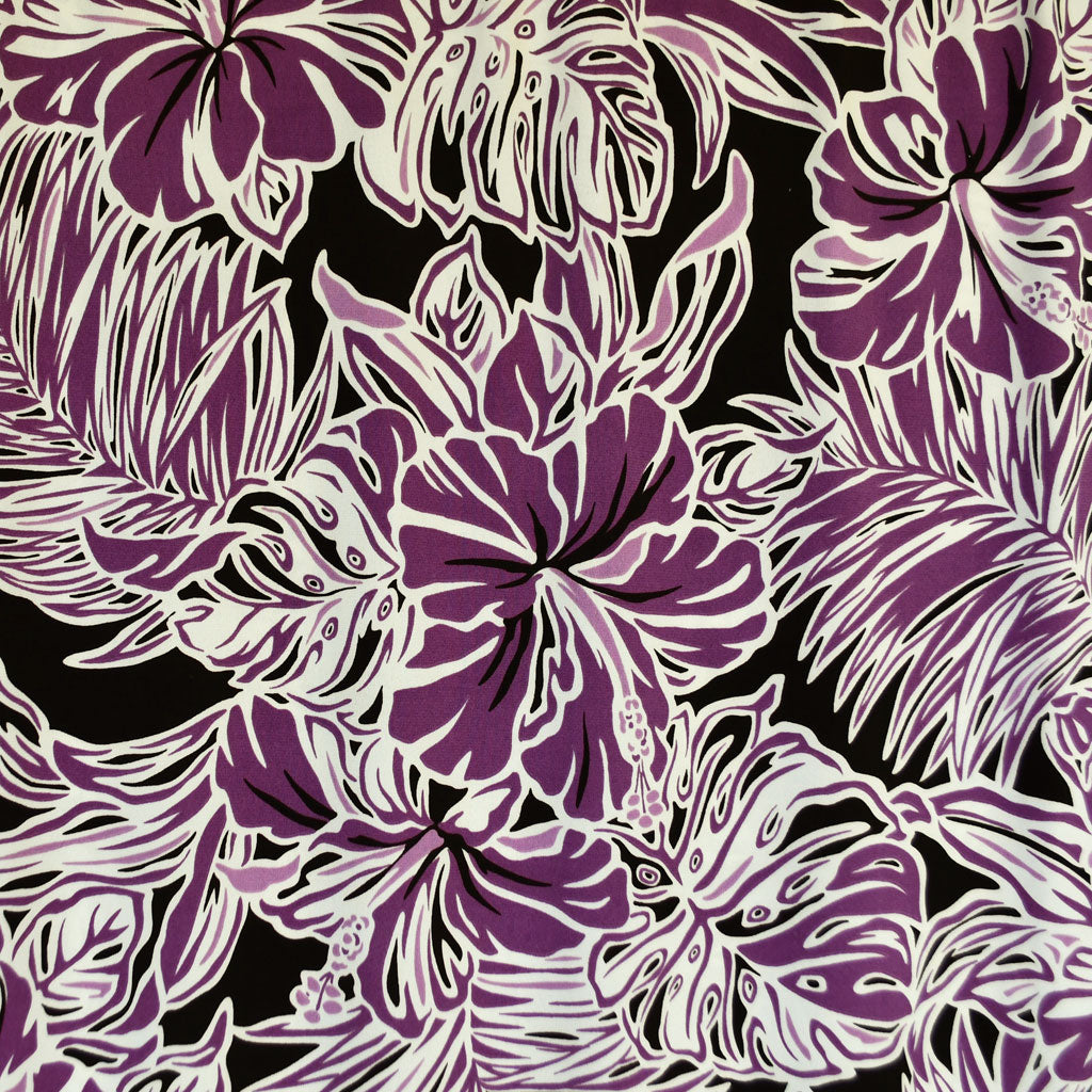 Hibiscus Floral Outline Ity Knit Plum Style Maker Fabrics