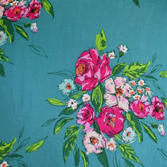 Signature Floral Fest Rayon Teal/Rose - Fabric - Style Maker Fabrics