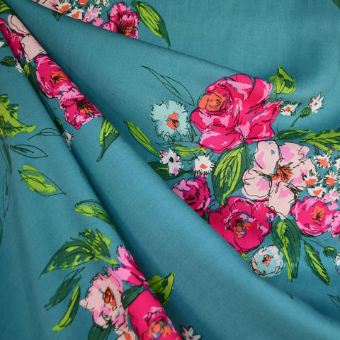 Signature Floral Fest Rayon Teal/Rose