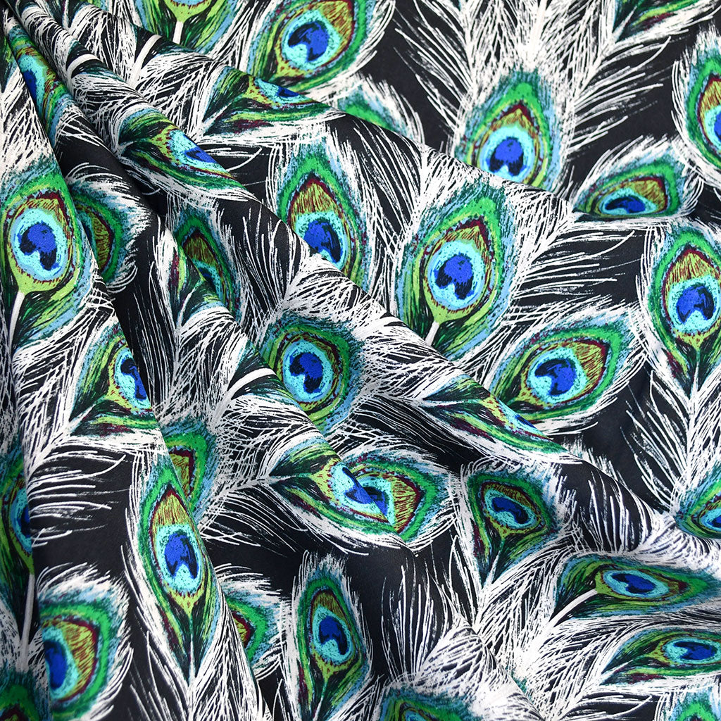 Decadence Peacock Plumes Rayon Navy SY - Selvage Yard - Style Maker Fabrics