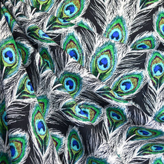 Decadence Peacock Plumes Rayon Navy - Fabric - Style Maker Fabrics
