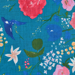 Japanese Nani Iro Fuccra Floral Linen Teal SY - Sold Out - Style Maker Fabrics