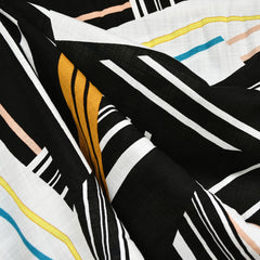Fractured Geometric Slub Rayon Black/White/Mustard - Sold Out - Style Maker Fabrics