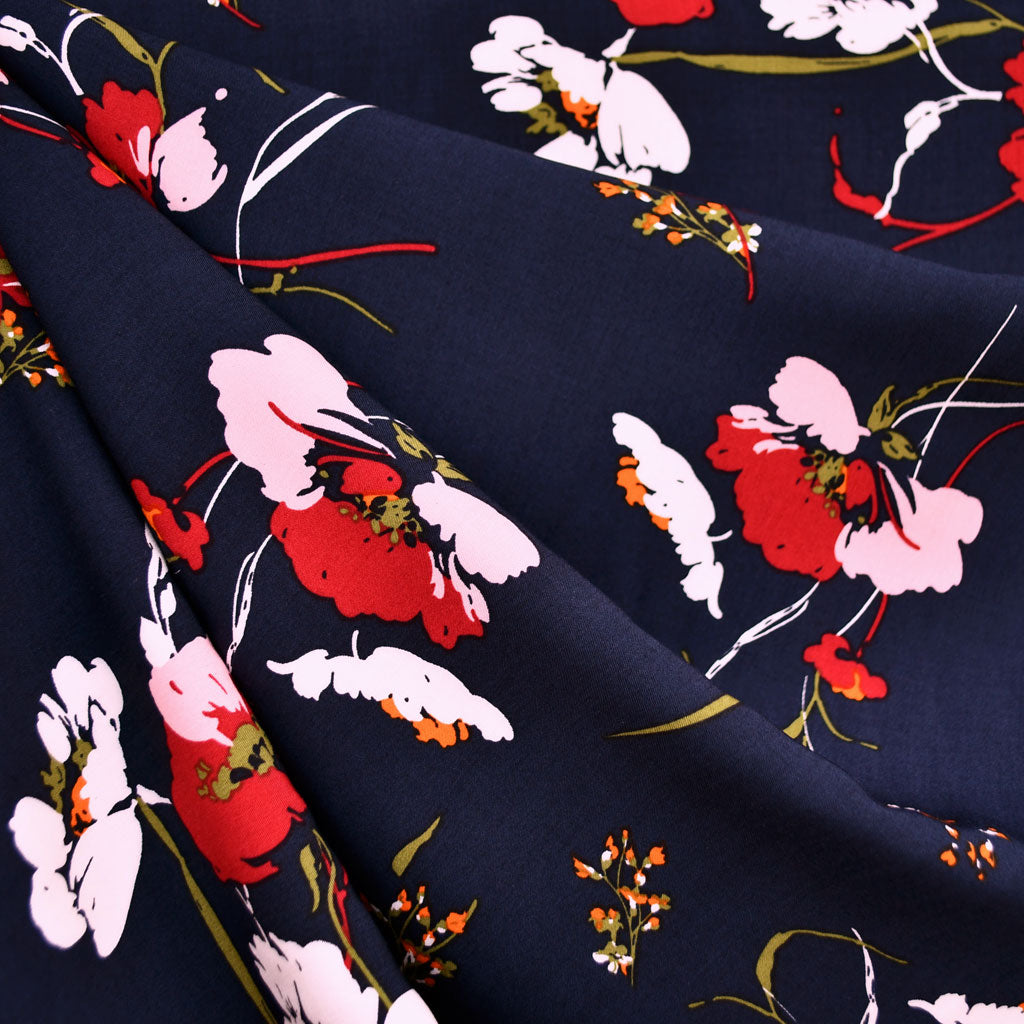 Mod Floral Rayon Poplin Navy/Pink - Sold Out - Style Maker Fabrics