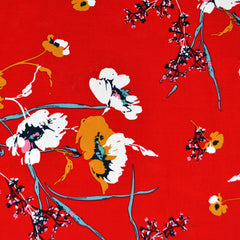 Mod Floral Rayon Poplin Red/Orange - Sold Out - Style Maker Fabrics
