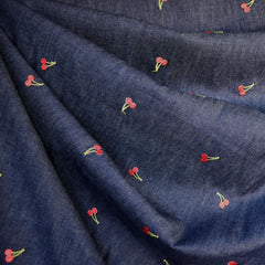 Embroidered Cherries Denim Shirting Blue - Fabric - Style Maker Fabrics