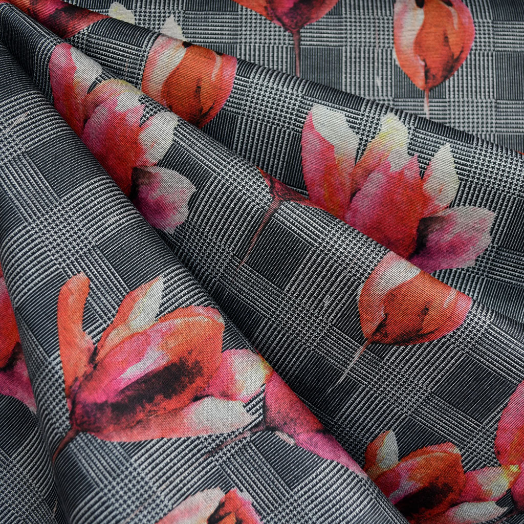 Plaid Floral Ponte Knit Black/Fuchsia - Fabric - Style Maker Fabrics