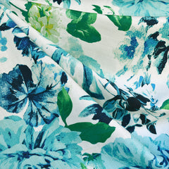 Tonal Floral Textured Cotton Suiting Turq/Blue - Fabric - Style Maker Fabrics