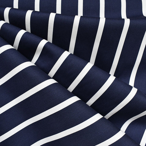 Wide Stripe Stretch Poplin Shirting Navy/White