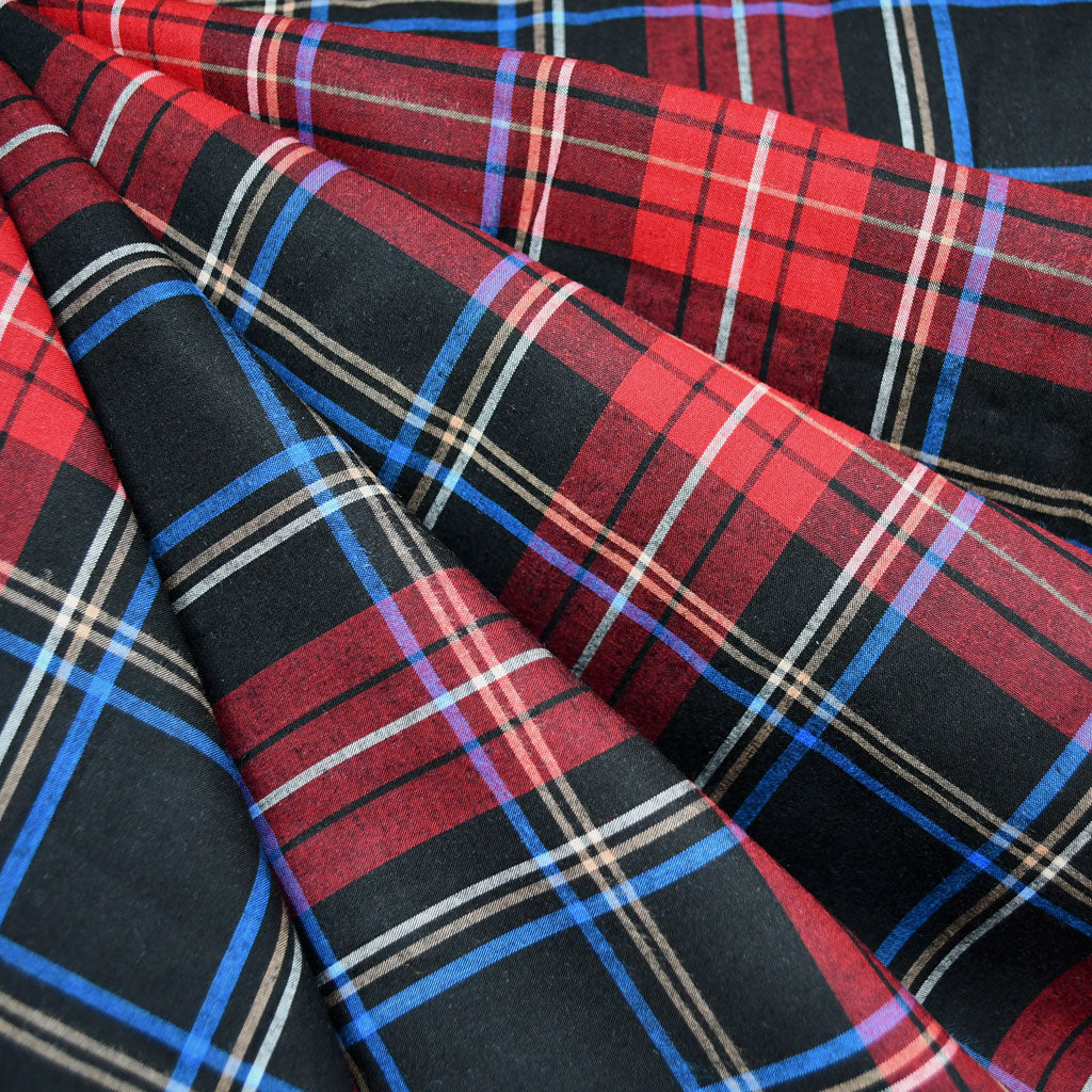 Yarn-Dyed Plaid Tencel Shirting Red/Black SY - Selvage Yard - Style Maker Fabrics