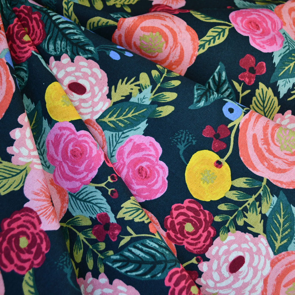 English Garden Juliet Rose Linen Blend Canvas Navy - Fabric - Style Maker Fabrics