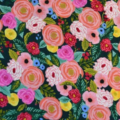 English Garden Juliet Rose Rayon Navy - Fabric - Style Maker Fabrics