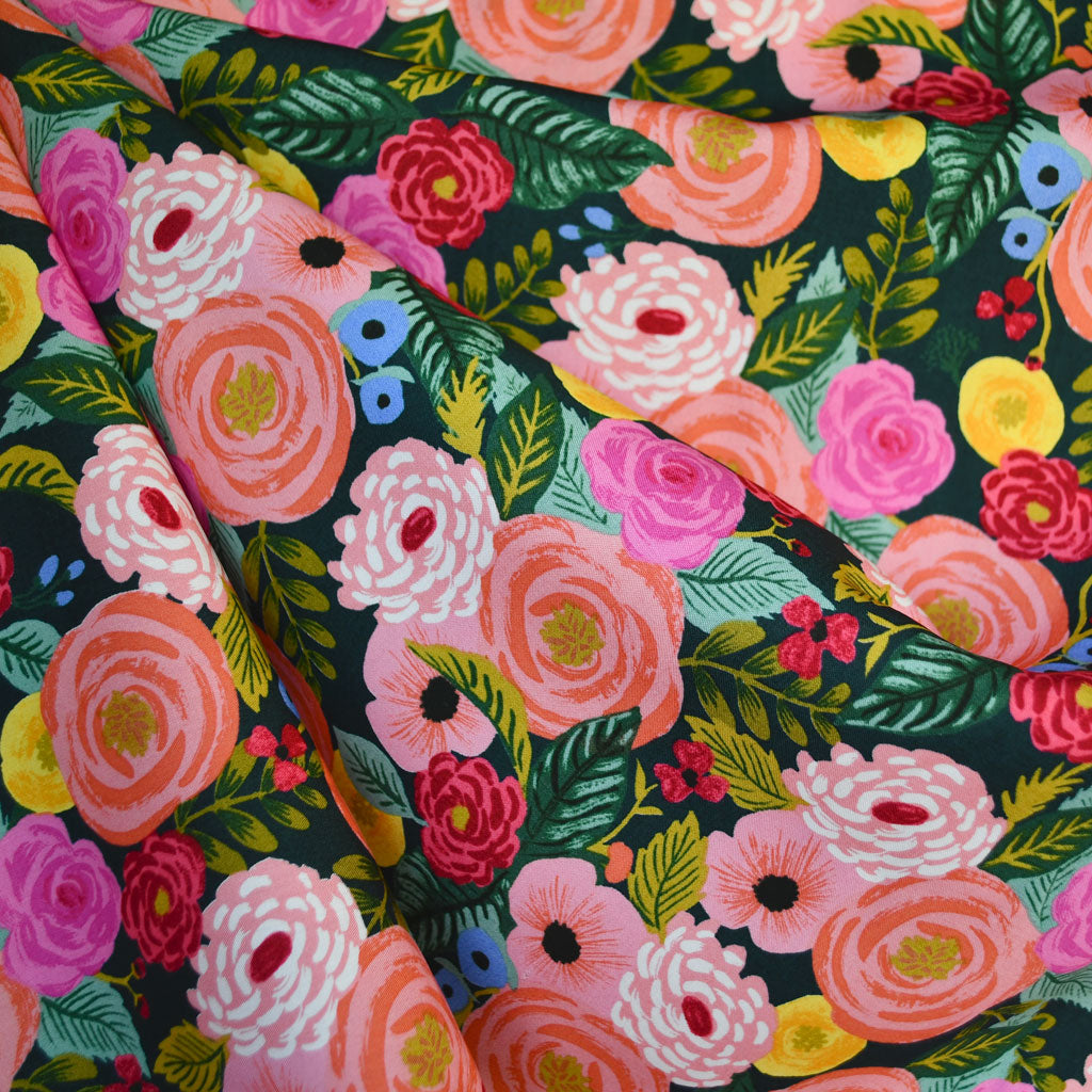 English Garden Juliet Rose Rayon Poplin Navy - Sold Out - Style Maker Fabrics