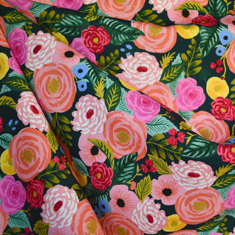 English Garden Juliet Rose Rayon Poplin Navy