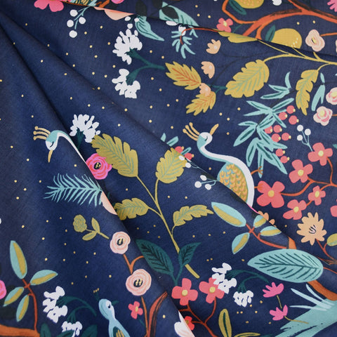 English Garden Growing Garden Single Border Print Cotton Navy