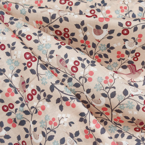 Tiny Spring Birds French Cotton Lawn Blush