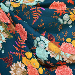 Autumn Vibes Floral Jersey Knit Teal - Fabric - Style Maker Fabrics