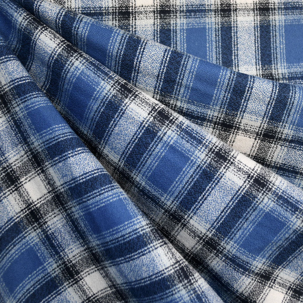 Mammoth Flannel Distressed Plaid Blue/Navy - Fabric - Style Maker Fabrics