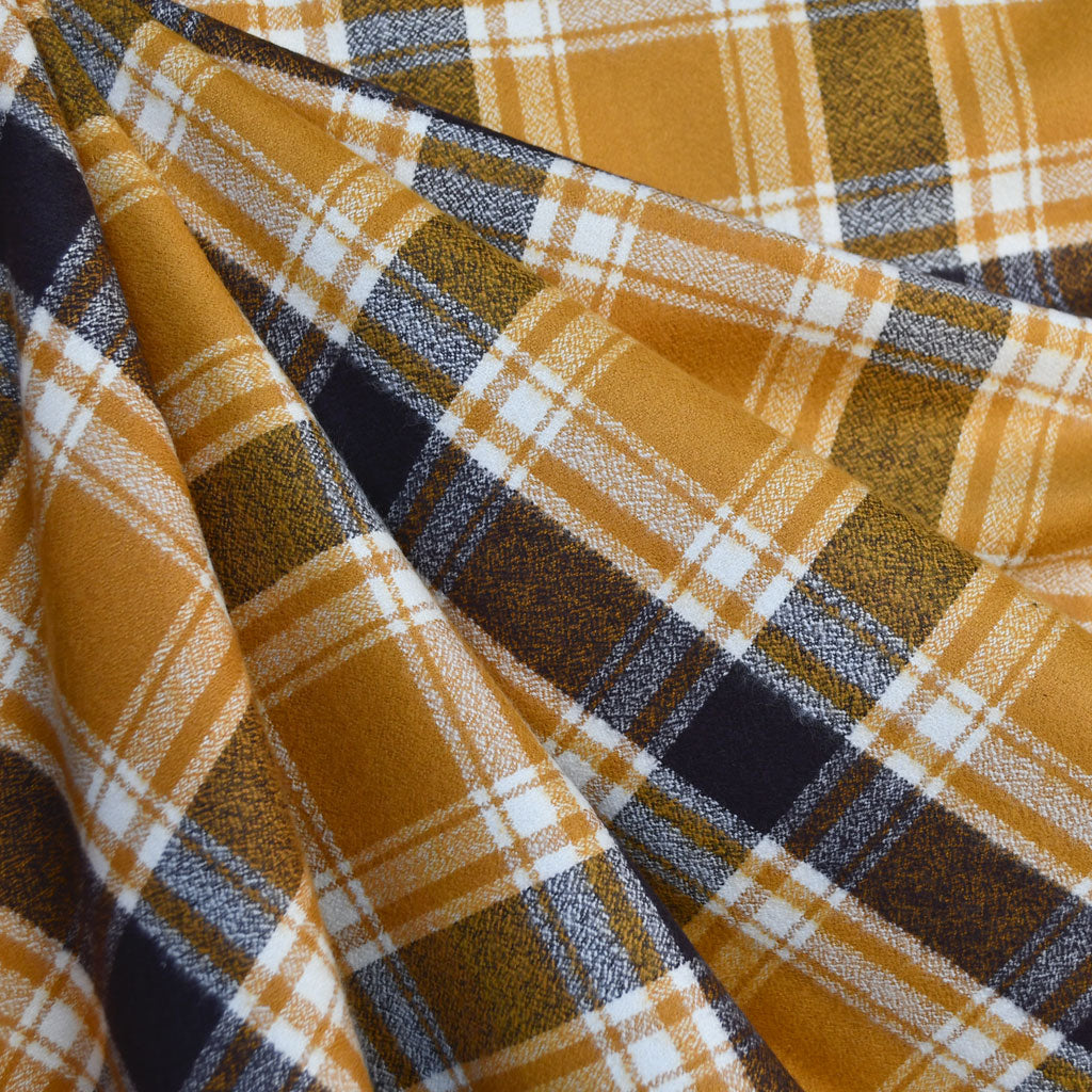 Mammoth Flannel Plaid Mustard/Chocolate - Sold Out - Style Maker Fabrics