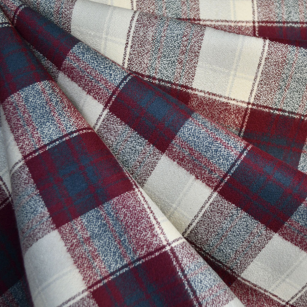 Mammoth Flannel Plaid Burgundy/Navy - Fabric - Style Maker Fabrics