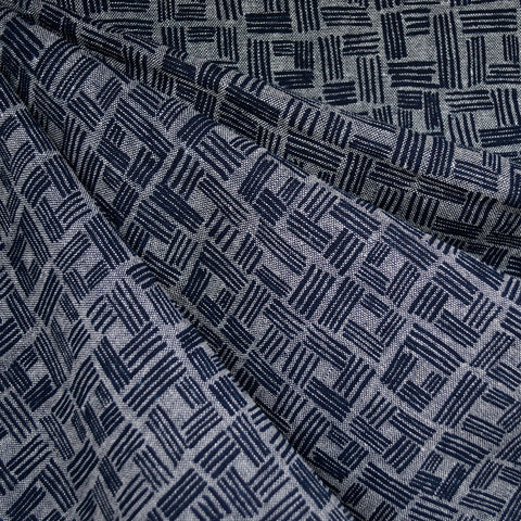 Forage Crosshatch Squares  Linen Blend Indigo