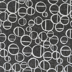 Forage Layered Circles Linen Blend Charcoal - Fabric - Style Maker Fabrics