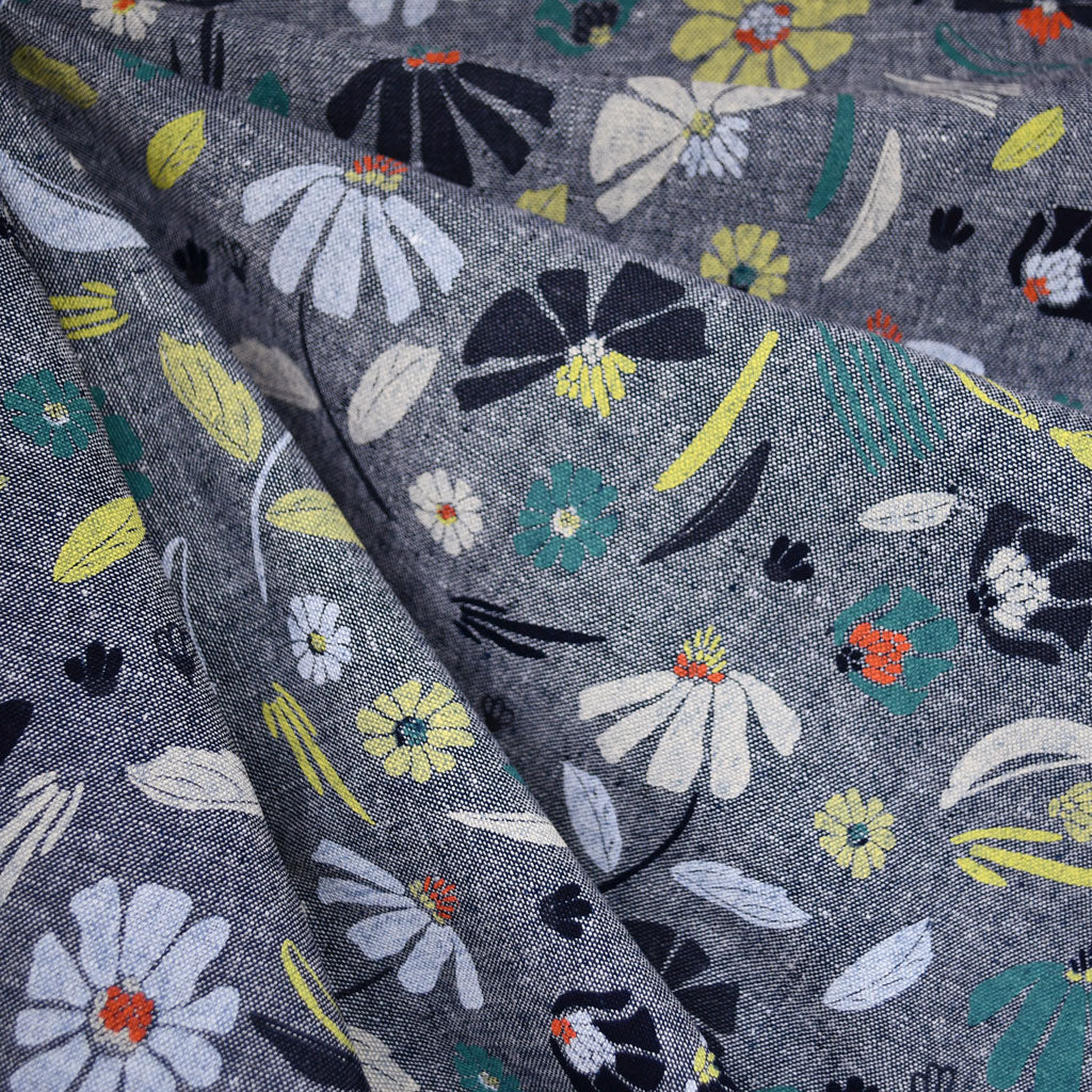 Forage Wild Flowers  Linen Blend Indigo - Sold Out - Style Maker Fabrics