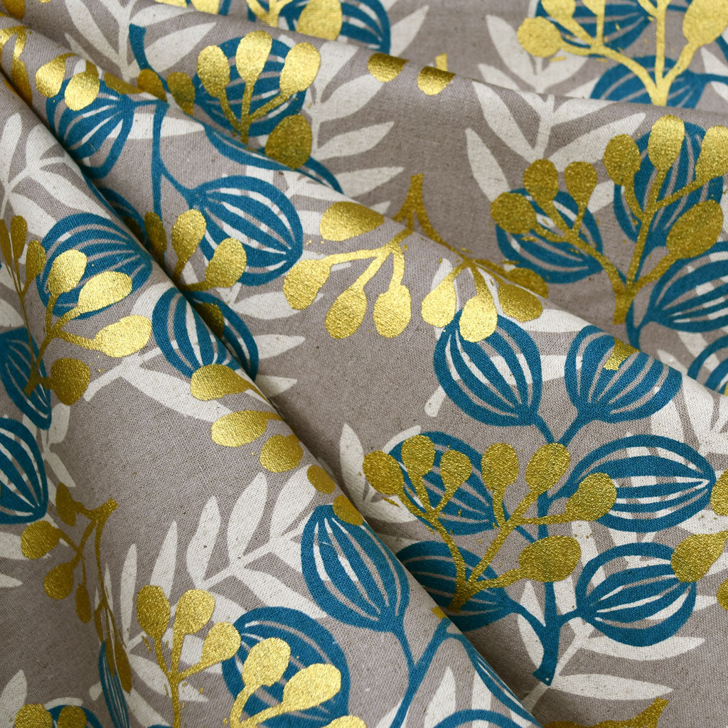 Imagined Landscapes Meadow Linen Blend Teal/Gold - Fabric - Style Maker Fabrics