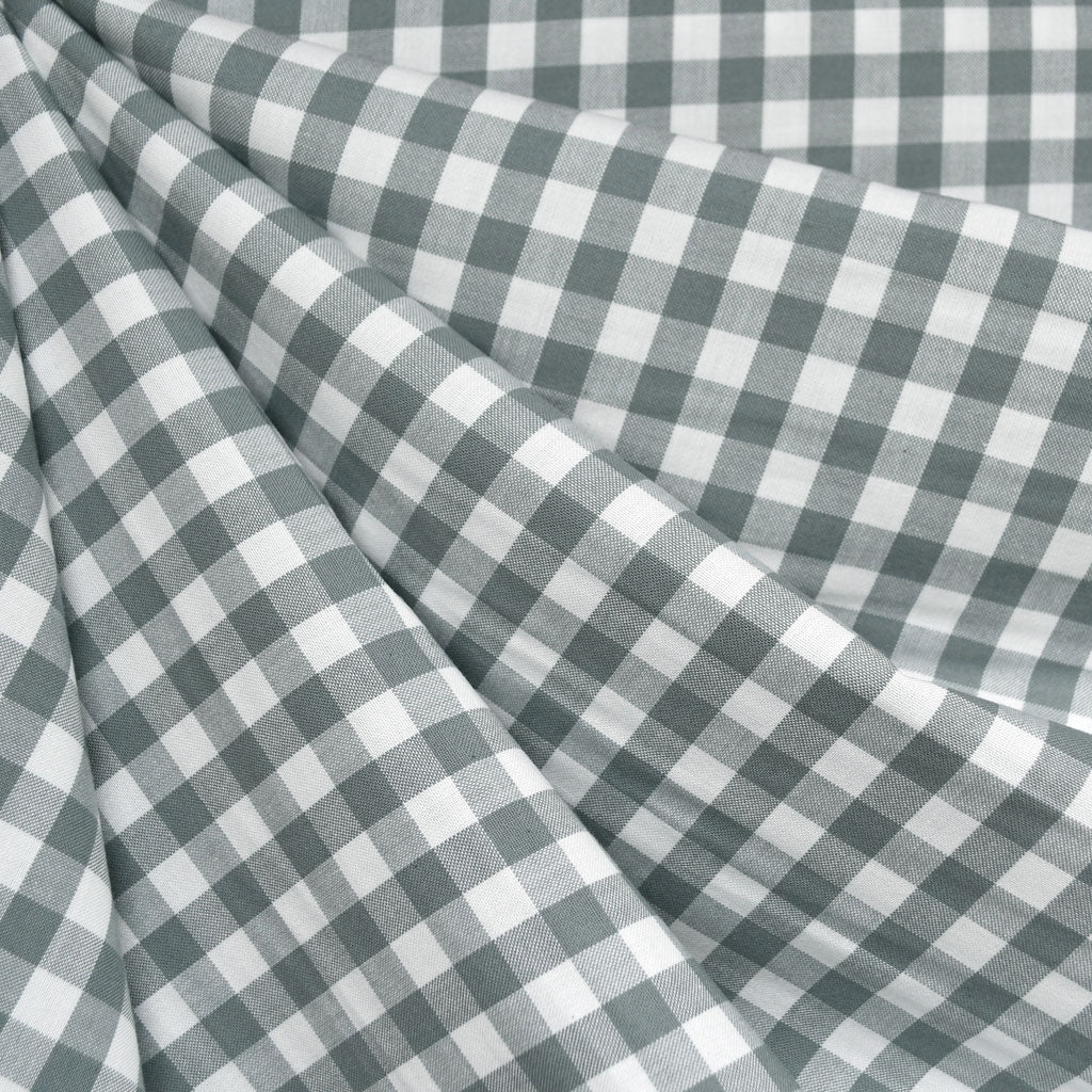 Classic Gingham Mini Check Shirting Shale - Fabric - Style Maker Fabrics