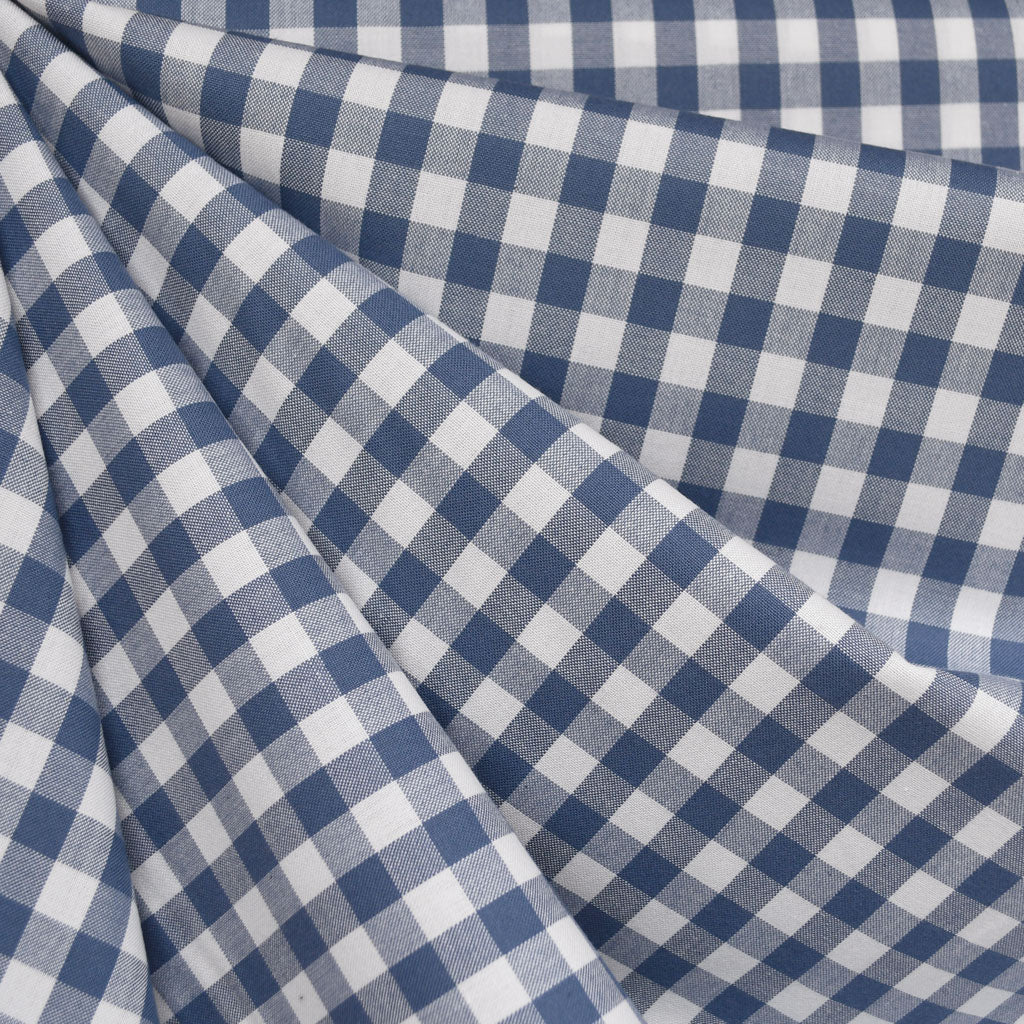 Kitchen Window Mini Check Shirting Denim - Fabric - Style Maker Fabrics