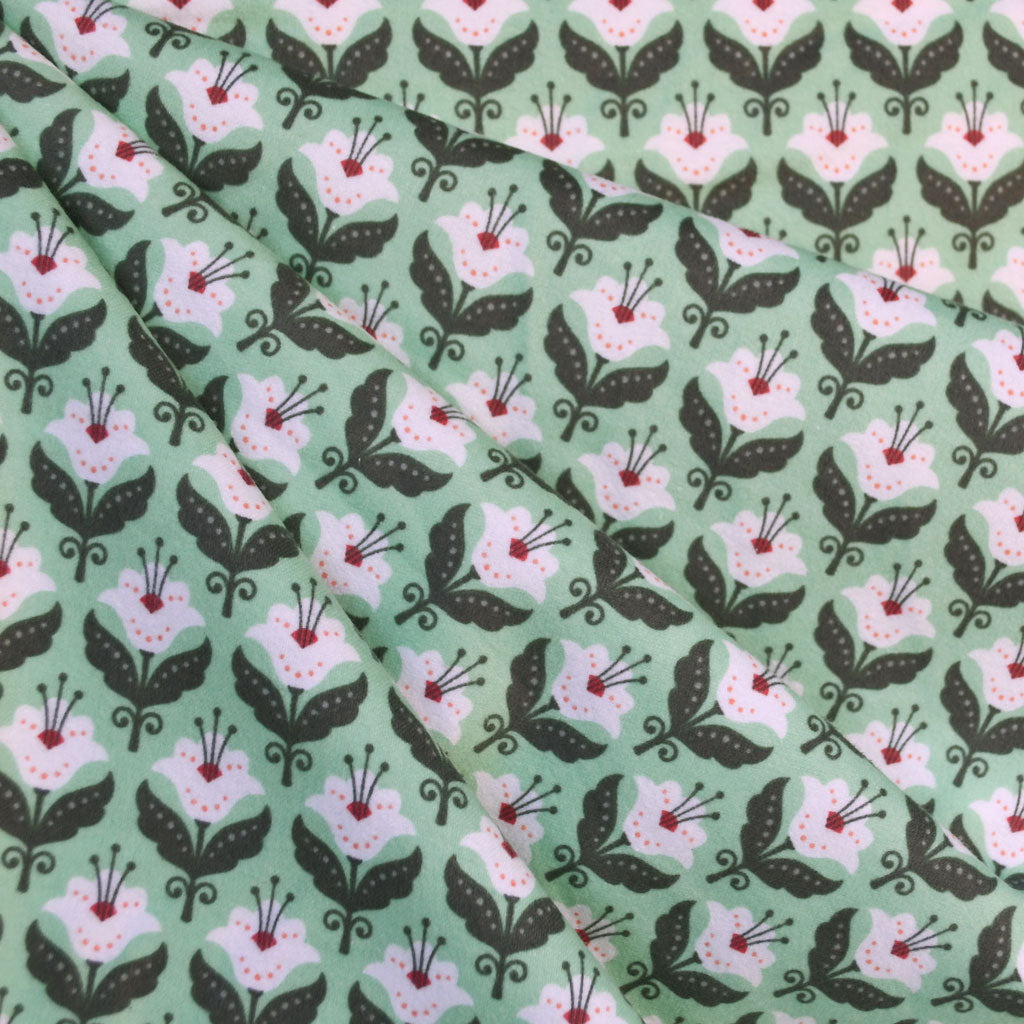Fleurie Flannel Floral Geometric Mint - Fabric - Style Maker Fabrics