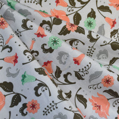 Fleurie Flannel Floral Allover Grey - Fabric - Style Maker Fabrics
