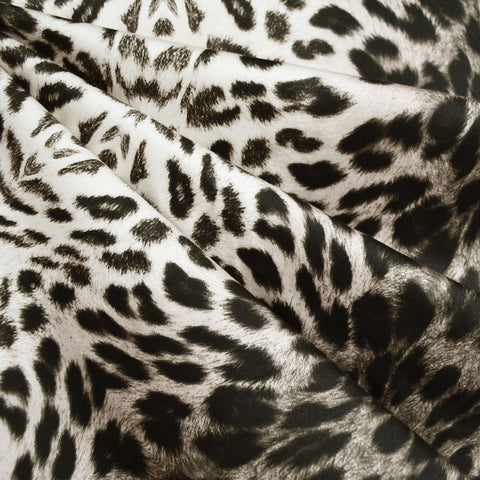 Animal Print Stretch Sateen Cream/Black