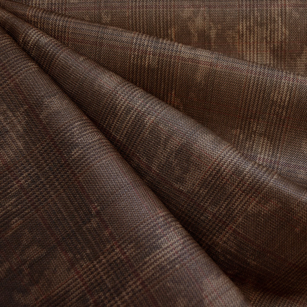 Distressed Yarn Dyed Plaid Twill Brown SY - Sold Out - Style Maker Fabrics