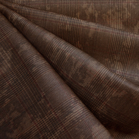 Distressed Yarn Dyed Plaid Twill Brown