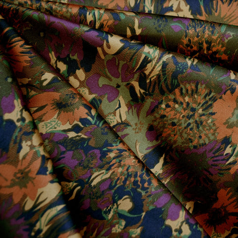 Abstract Autumn Floral Stretch Sateen Rust/Plum
