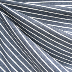 Pencil Stripe Cotton Jersey Denim/Cream - Sold Out - Style Maker Fabrics