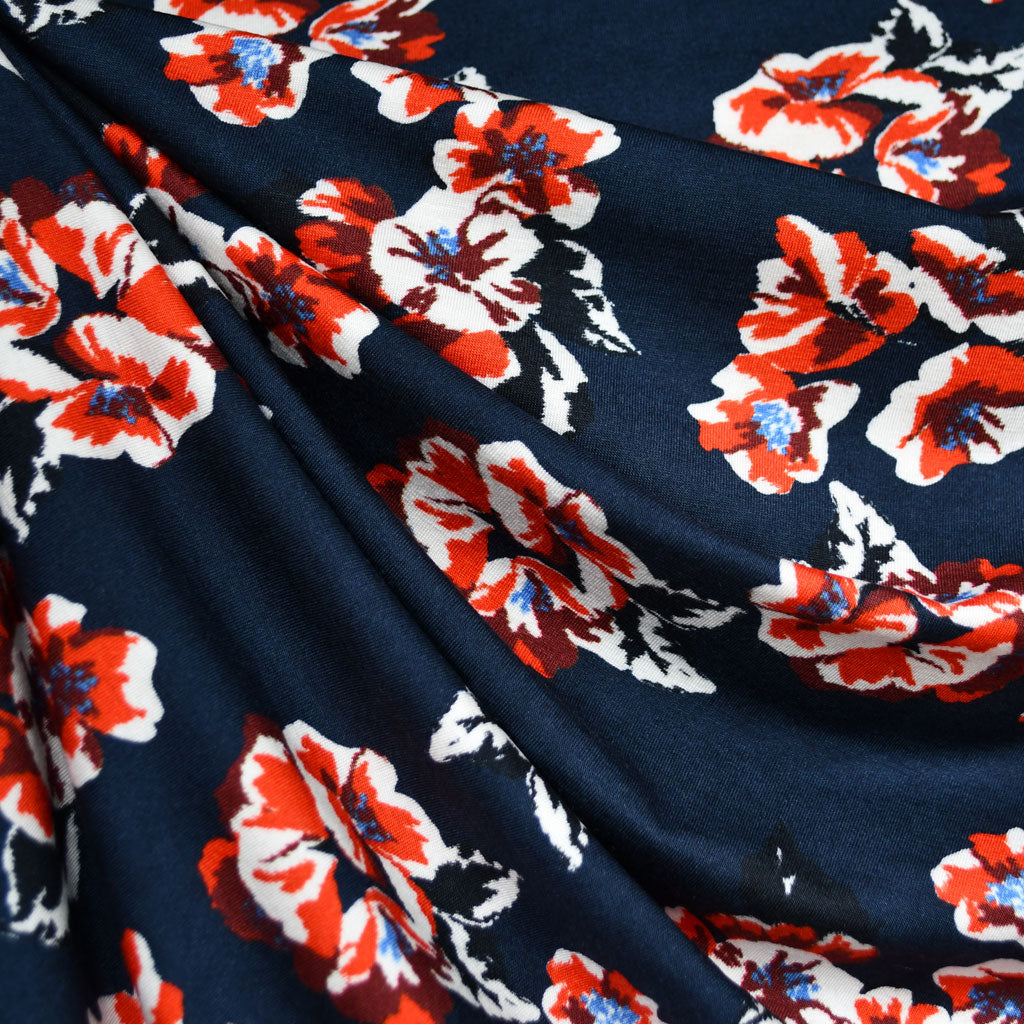 Abstract Floral Jersey Knit Navy/Tangerine - Fabric - Style Maker Fabrics