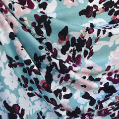 Brushstroke Floral Jersey Knit Teal/Plum SY - Sold Out - Style Maker Fabrics