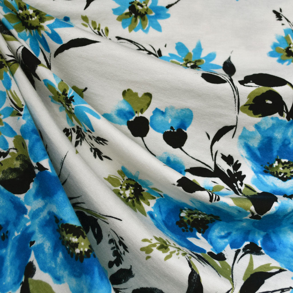 Watercolor Floral Jersey Knit Cream/Turquoise - Fabric - Style Maker Fabrics