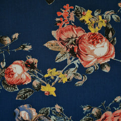 Autumn Rose Rayon Crepe Navy/Rust - Fabric - Style Maker Fabrics