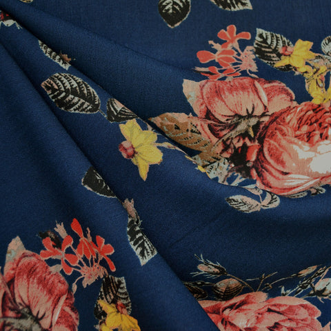 Autumn Rose Rayon Crepe Navy/Rust